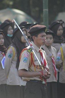 Boy Scouts, Parade, Sword, Uniform, Beret, People