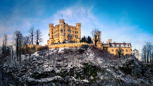 Castle, Hohenschwangau, Winter, Wintertime, Snow, Cold