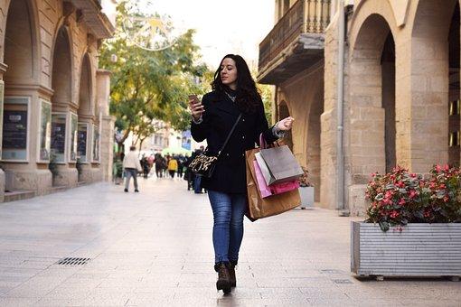Woman, Shopping Bags, Street, Shopping, Girl, Young