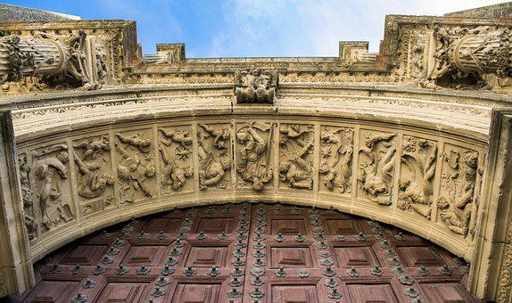 Cathedral, Arc, Door, Art, Carved Stone, Travel