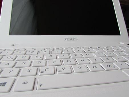 Notebook, Netbook, Keys, Laptop, Asus, Keyboard, White