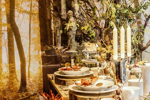Autumn, Golden October, Autumn Arbor, Romantic, Candles