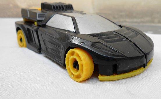 Car, Toy, Automobile, Wheels, Black, Yellow, Grey