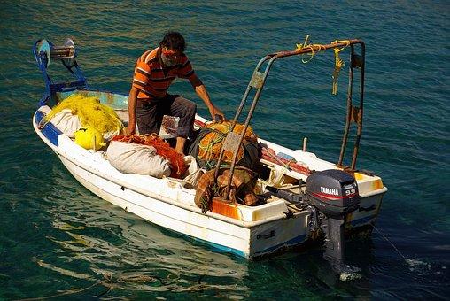 Fisherman, Boat, Fishing Boat, Small Boat, Sea, Fishing