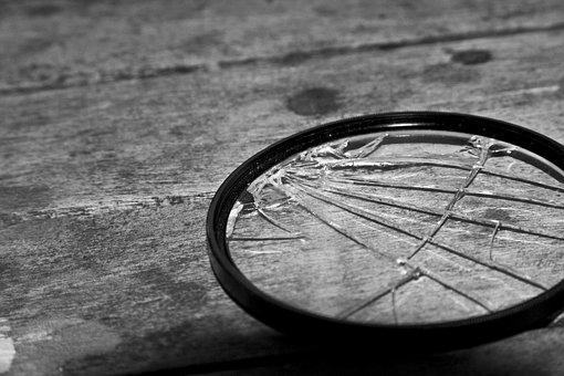 Lens, Broken, Grey, Glass, Technology, White, Black