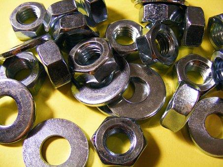 Nut, Construction, Industry, Steel, Threaded