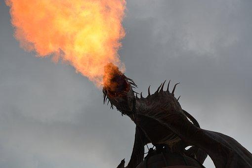 Dragon, Harry Potter, Fire, Sky, Amusement Park, Animal