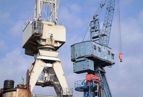 Hamburg, Germany, Port, Water, Crane, Floating Dock