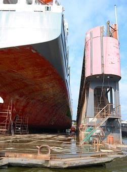 Floating Dock, Water, Germany, Port, Work, Repair