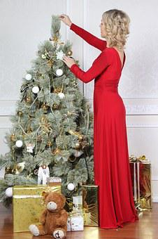 New Year's Eve, Christmas Tree, Girl, Toys