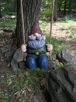 Gnome, Swing, Dwarf, Swinging, Figure, Decoration