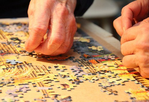 Jigsaw Puzzle, A Piece Of, Grandmother, Hand, Close