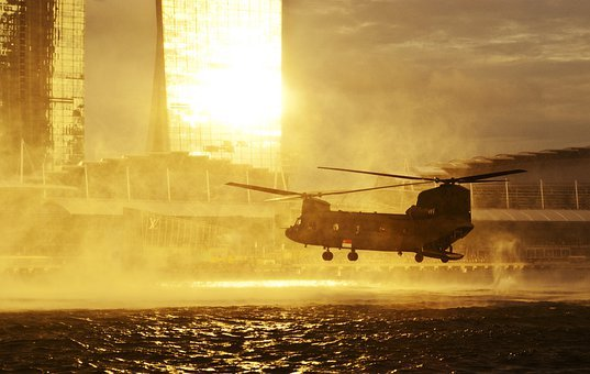 Helicopter, Hovering, Sea, Water, Fly, Aircraft