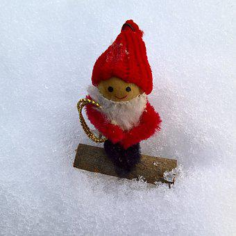 Winter, Santa Claus, Imp, In The Snow, Cute