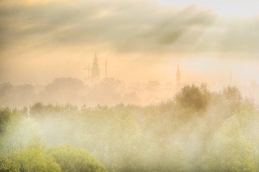 Cityscape, Fog, Light, Groningen, Skyline, City, Urban