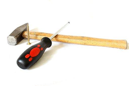 Screwdriver, Background, Screw, Wooden, Metal, Repair