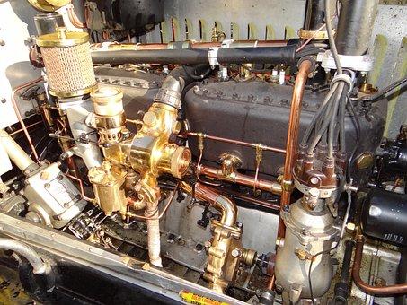 Vintage, Motor, Engine, Old, Automobile, Brass, Copper