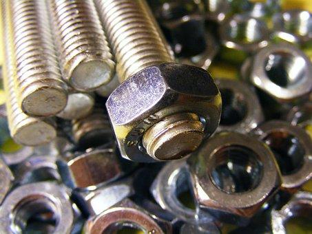 Bolt, Nut, Construction, Industry, Steel, Threaded