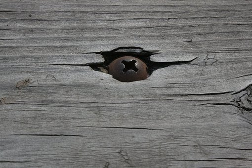 Screw, Wood, Weathered, Old, Rusty, Construction