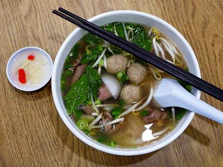 Vietnam, Rice Noodles, Beef, Beef Ball, Asian