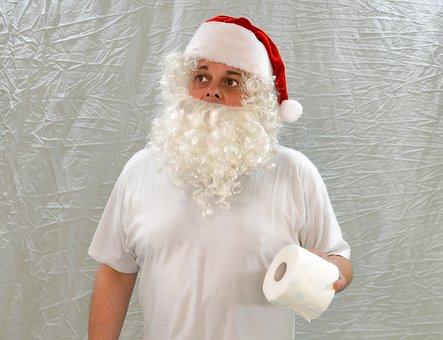 Santa, Santa Clause, Santa Claus, Need, Toilet Paper