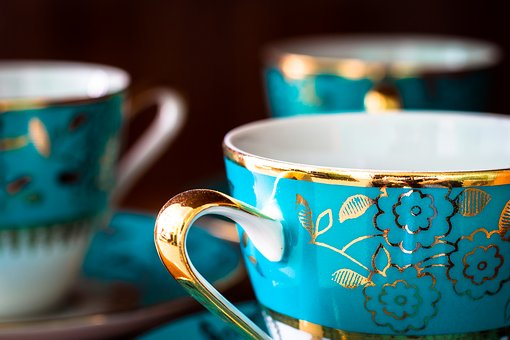 Set, Potty, Cup, Mugs, Blue, Pattern, Gold