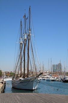 Ship, Sailing Boat, Barcelona, Summer, Vacations