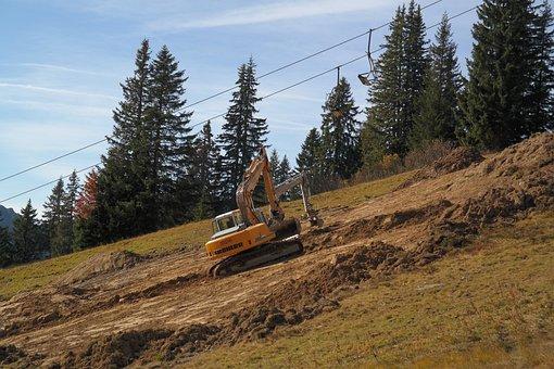 Dredging, Excavators, Leveling, Pave, Ski Run, Summer