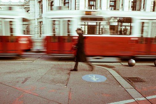 Street, Tram, Man, Walking, City, Urban, Europe