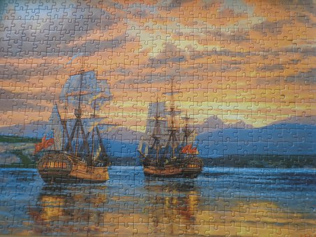 Jigsaw Puzzle, Jigsaw, Puzzle, Ships, Pieces, Sunset
