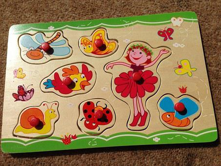 Jigsaw, Toddler, Play, Snail, Butterfly, Dragonfly