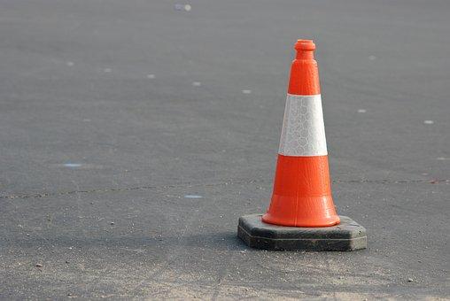 Caution, Cone, Orange, Traffic, White, Warning, Road