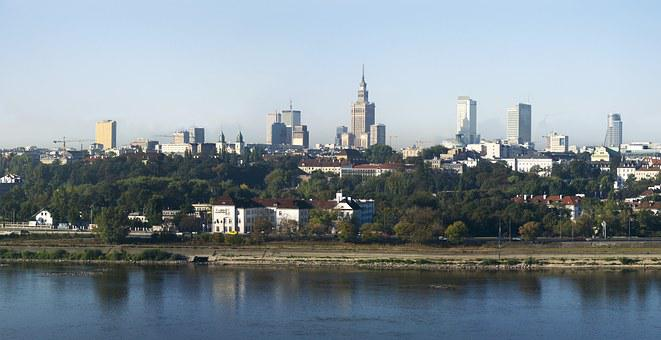 Warsaw, Poland, City, Wisla, Palace Of Culture