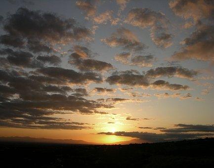 Sunrise, Clouds, Dawn, Sky, Sunlight, California