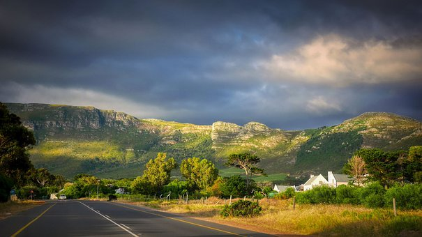 Road, Mountain, Clouds, Houses, Street, Avenue