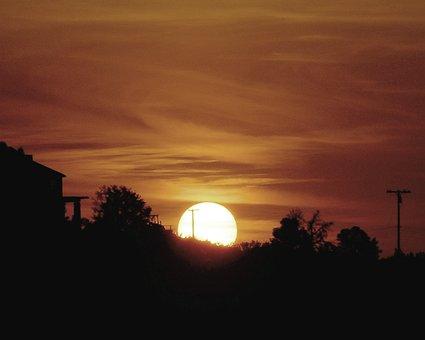 Sundown, Sunset, Country, Rural, Sky, Dusk, Silhouette