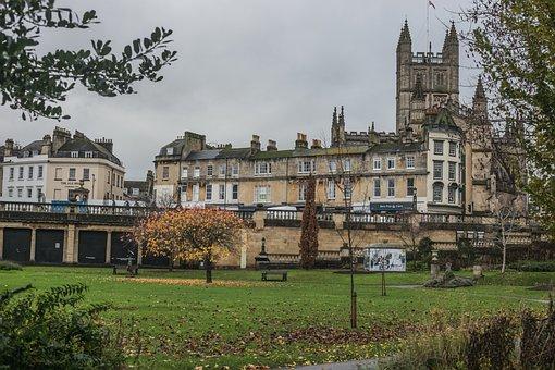 Bath Abbey, Abbey, Park, Nature, Parade Gardens, Garden