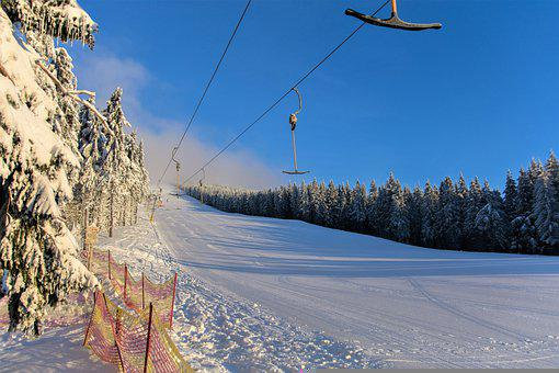 Empty Ski Slope, Winter, Forest, In The Morning