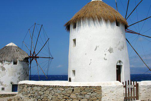 Greece, Mills, Mar, Island, Summer, Sky, Landscape