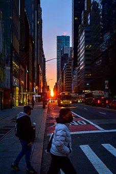 Manhattan Sunrise, Nyc, Street, Dark, Reflection