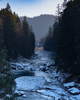 River, Nature, Winter, Ice, Landscape, Mountains