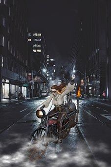 Road, Composing, Motorcycle, Woman, Dark, Hat, Fantasy