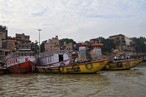 Boats, River, Ganga Ghats, Varanasi, India, Water