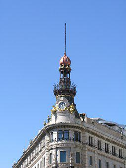 Madrid, Spain, Watch, Dome, Architecture, Gold, Bronze