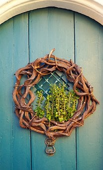Door, Portal, Wreath, Input, Door Decoration