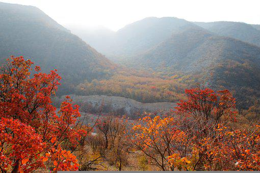 Landscape, Mountains, Autumn, Paint, Bright, Red, Sky