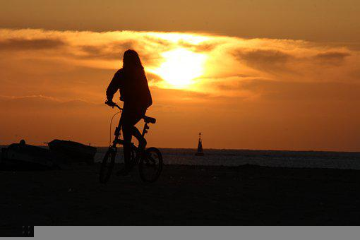 Sunset, Bike, Bicycle, Exercise, Cyclist, Beach