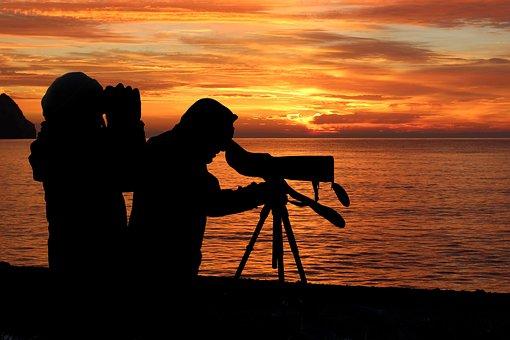 Sunset, Silhouette, Birding, Spotting Scope, Binocular