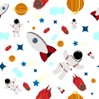 Seamless Pattern, Kids, Cosmonaut, Meteor, Print