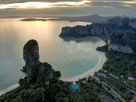 Thailand, Beach, Ocean, Rock, Sand, Sky, Nature, Drone